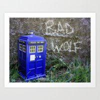 bad wolf Art Prints featuring BAD WOLF by MSG Imaging