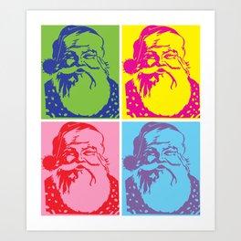 Santa Pop art Merry Christmas Art Print