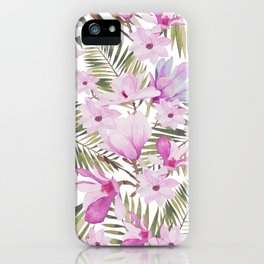 Tropical hand painted green magenta watercolor floral iPhone Case