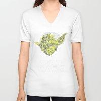 yoda V-neck T-shirts featuring Yoda by Stormega