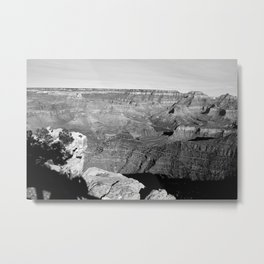 The Grand Canyon in Black and White Metal Print