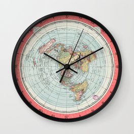 Flat Earth Society Wall Map Wall Clock