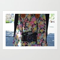 50 mm camera and flowers Art Print