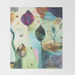 """Abundance"" Original Painting by Flora Bowley  Throw Blanket"