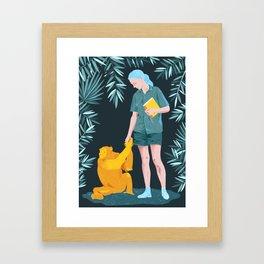 Jane and Fifi - Jane Goodall tribute illustration Framed Art Print