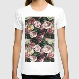 Vintage & Shabby chic - dark retro floral roses pattern T-shirt