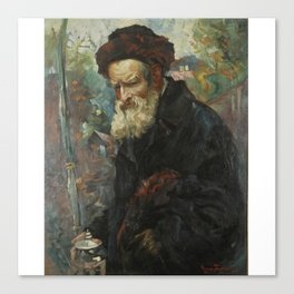 Maurycy Trebacz 1861-1941 RABBI WITH LULAV AND ETROG CONTAINER Canvas Print