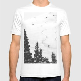 Backcountry Skier // Fresh Powder Snow Mountain Ski Landscape Black and White Photography Vibes T-shirt