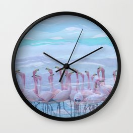 Flamingos #7, fun design Wall Clock
