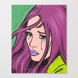 Purple Hair Sad Comic Girl Canvas Print