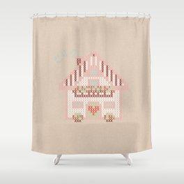 Cute little house cross stitch Shower Curtain