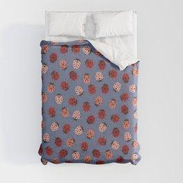 All over Modern Ladybug on Plum Background Duvet Cover