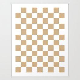 Checkered - White and Tan Brown Art Print