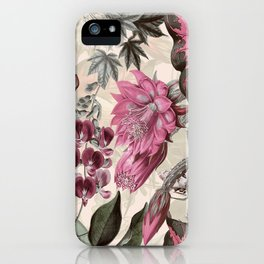 Egzotik çiçekler, palmiye yaprakları, orman yaprağı, ebegümeci, orkide, cennet çiçeği kuşu ile çiçek dikişsiz vektör tropikal desen arka plan. Hawaii tarzında botanik duvar kağıdı  iPhone Case