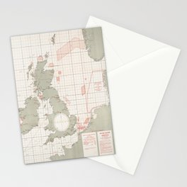 Vintage English Channel Naval Minefields Map (1918) Stationery Cards