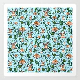 Cute Desert and Fennec Fox Pattern Art Print