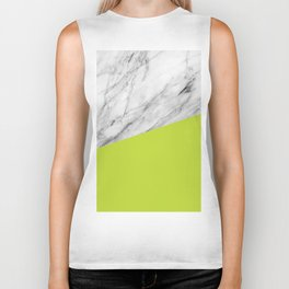 Marble with Lime Punch Color Biker Tank