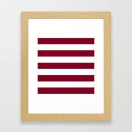Burgundy - solid color - white stripes pattern Framed Art Print