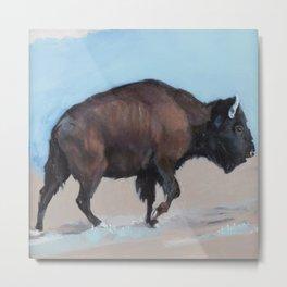 Bison Uphill, Buffalo in the Plains of Utah  Metal Print