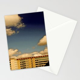 Office block and clouds Stationery Cards