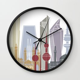 Kuwait City skyline poster Wall Clock