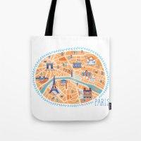 paris map Tote Bags featuring Paris Map by Emily Golden