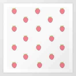 Kawaii Cute Strawberry Print Art Print