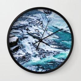 Gulfoss Waterfall Iceland Wall Clock