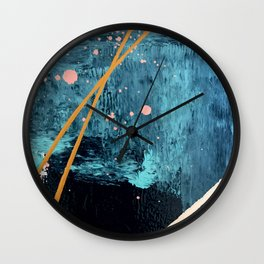 Poseidon: a bright, minimal abstract in blues, pink, orange, and white Wall Clock