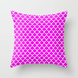 Scales (White & Magenta Pattern) Throw Pillow
