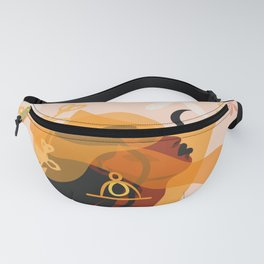 quiet, peaceful, calm, ethnic tribal black beautiful african american women,sun and magic moon Fanny Pack