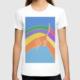 cat look back - halfway on rainbow bridge T-shirt