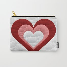 Quilted Red White Pink Simple Heart Design Carry-All Pouch