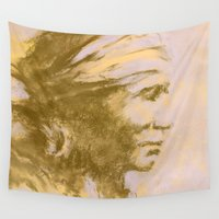 native american Wall Tapestries featuring Native American Indian by Alison Fennell