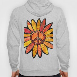 Red & Gold Peace Sign Flower Hoody