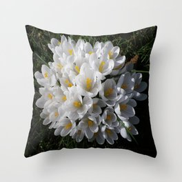 WHITE SPRING CROCUSES Throw Pillow