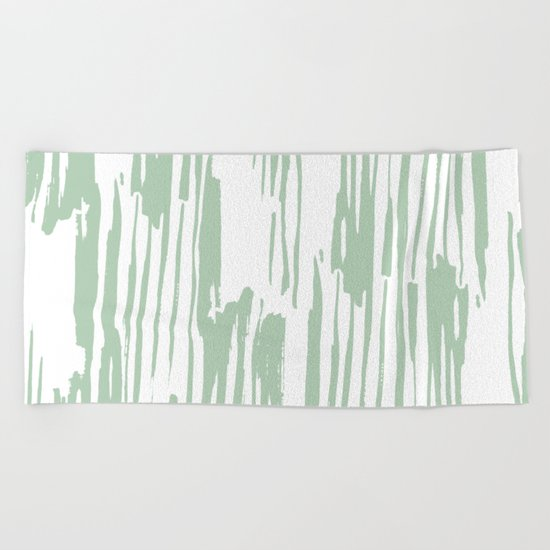 Bamboo Stripe Pastel Cactus Green White Beach Towel