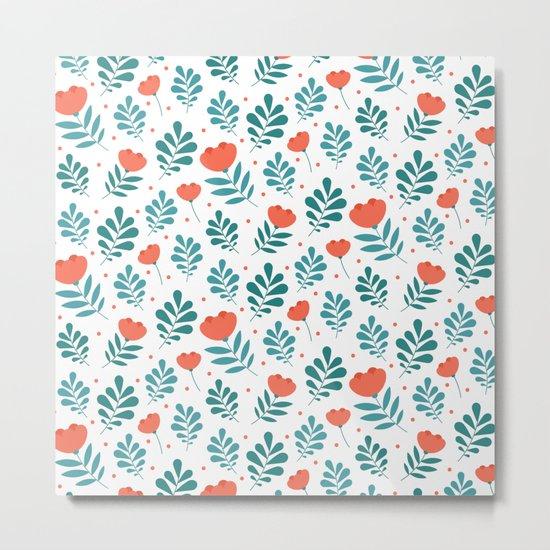 Floral Leaf Pattern Metal Print