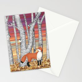nuthatches and fox in the birch forest Stationery Cards