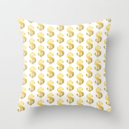 Gold Money - modern sparkle gold foil trendy hipster urban beach summer fresh pattern money sign  Throw Pillow