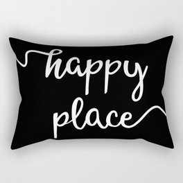 Happy Place, Simple Monochrome Lettering Design in White on Black, Very Minimalist Typography Rectangular Pillow