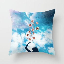 Catching Butterflies in Bubbles Throw Pillow