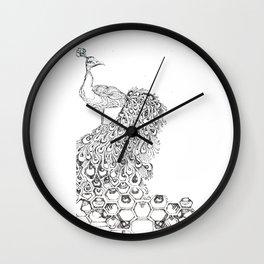 Stippled Peacock  Wall Clock