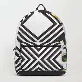 Square tiling patterns & white flowers Backpack