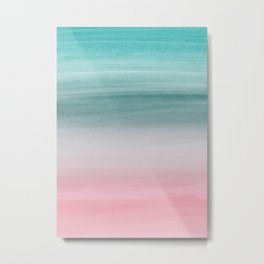 Touching Pink Teal Turquoise Watercolor Abstract #1 #painting #decor #art #society6 Metal Print
