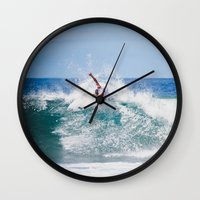 surfer Wall Clocks featuring Surfer by Carmen Moreno Photography