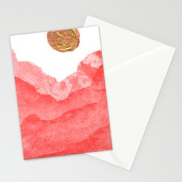 Red watercolor abstract mountains and moon Stationery Cards