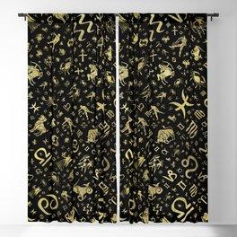 Zodiac symbols and glyphs Gold on black Blackout Curtain