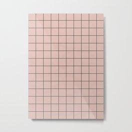 Small Grid Pattern - Pale Pink Metal Print