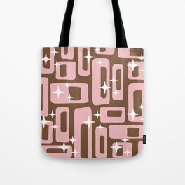 Retro Mid Century Modern Abstract Pattern 779 Pink and Brown Tote Bag